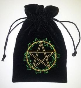 Velvet Tarot Card Bag: Black with Pentacle & Ivy Leaf design